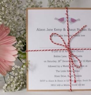 Cute and vintage lovebird wedding stationery from First Crush Cards