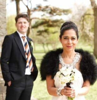 Jenny Packham glamour for a North Yorkshire bride at Yorebridge House