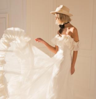 Belle Bridal SS20: The Secret Tower, White on Blonde