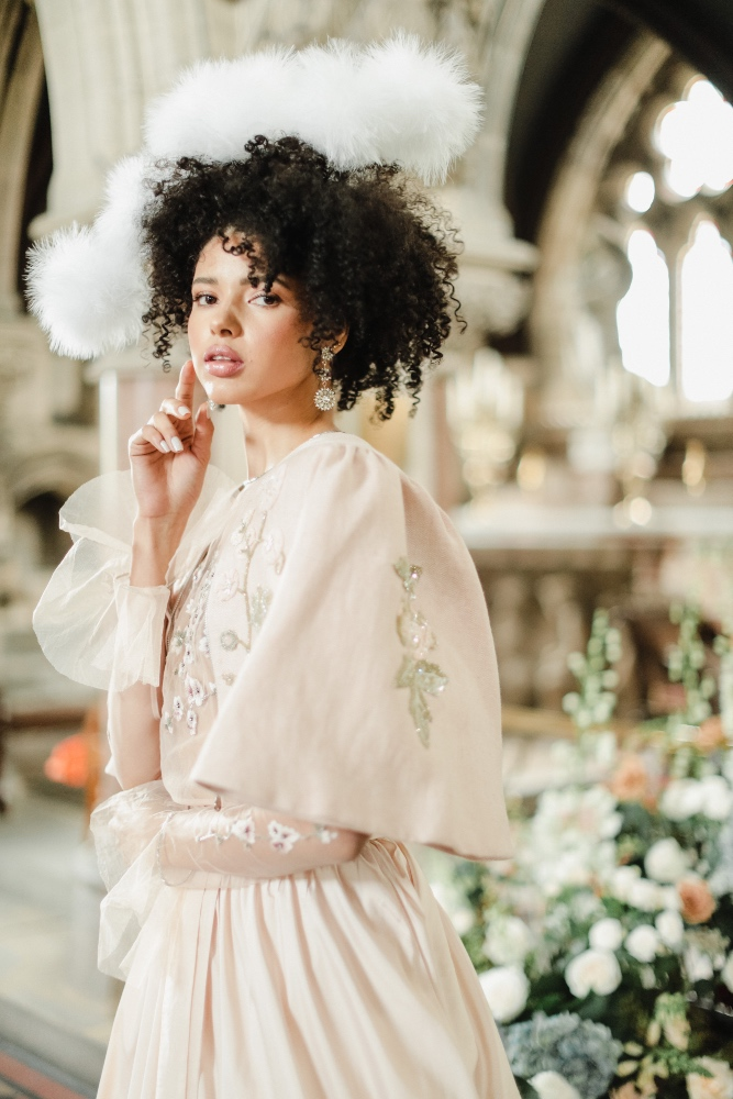 History Rose Candy Pink Tweed Jacket, Orchid Rose Tulle Sheer Blouse, Paper Moon Two-Tier Taffeta Skirt, all Bowen Dryden, Earrings, Starbox Jewellery, Fairy Headpiece, £865 Awon Golding