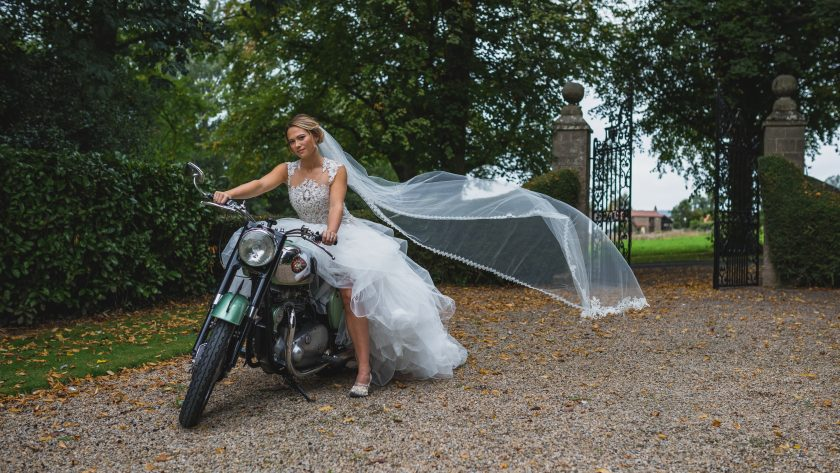 Bride on a Motorbike, Image by Stan Seaton Phtoograhy