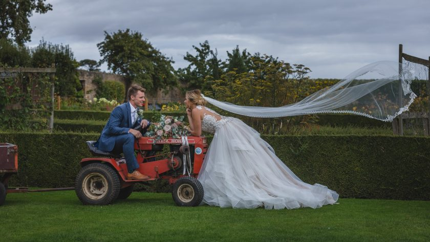 The Bride and Groom with a Tractor, Image by Stan Seaton Photography