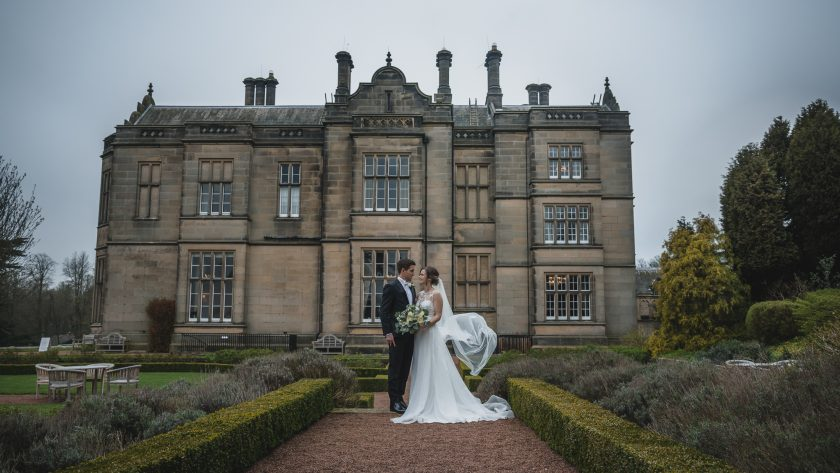 The Bride and Groom Outside of Matfen Hall, Image by Stan Seaton Photography