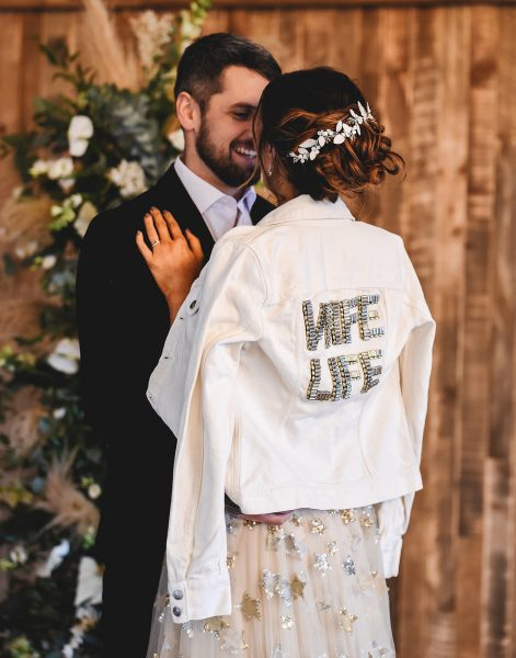 WIFE LIFE Jacket by Love Letters by Lillie. Orion Gown by Willowby by Watters. Image by Little's and Loves Photography