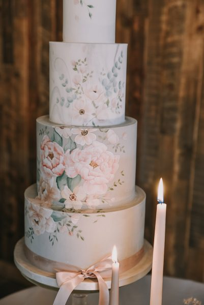 Vintage floral cake, 4 tier. Cake by Where the Ribbon Ends. Image by Little's and Loves Photography