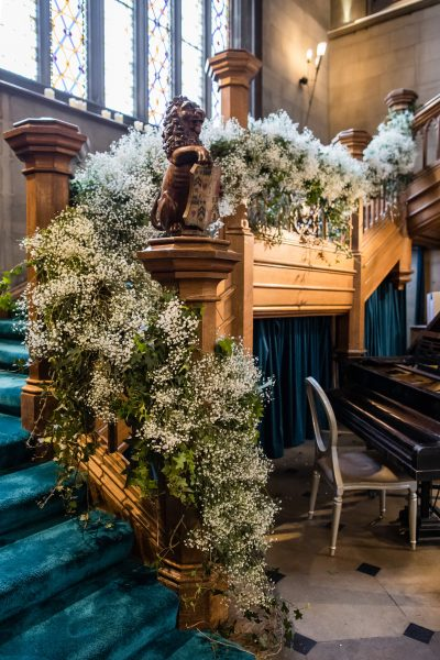 Staircase at Matfen Hall Dressed in Flowers