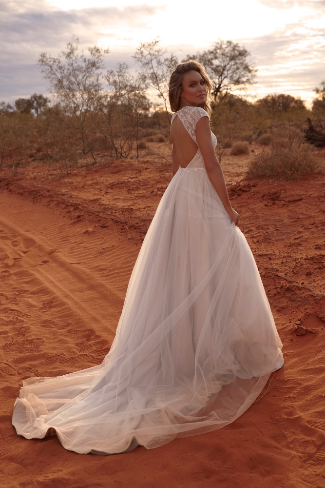 ECHO EY184 FULL LENGTH BALL GOWN WITH ILLUSION BODICE AND ZIP CLOSURE BACK WEDDING DRESS EVIE YOUNG BRIDAL2