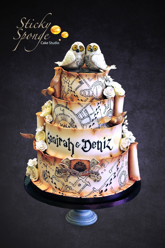 Harry Potter Scroll Wedding Cake 1
