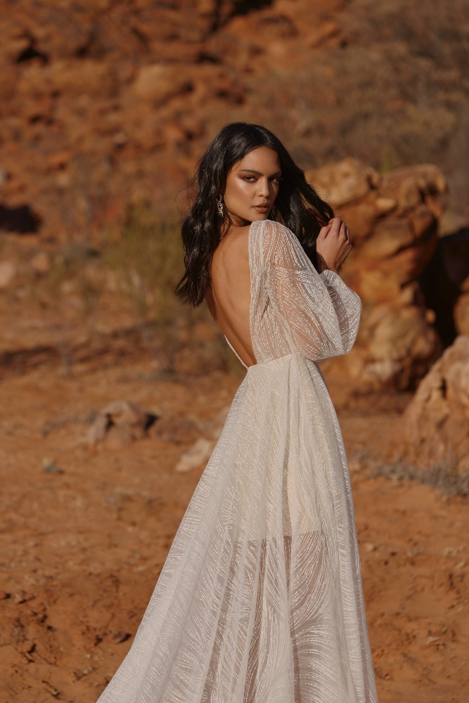 JOURNEY EY163 FULL LENGTH SHEER GOWN WITH PLUNGING NECK LINE AND ZIP CLOSURE BACK WEDDING DRESS EVIE YOUNG BRIDAL4