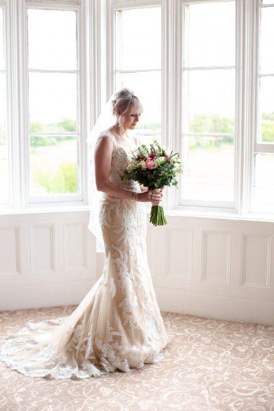 Bride in Wedding Dress at Matfen Hall