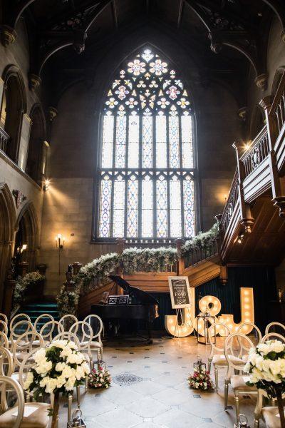 Altar at Matfen Hall Set for Wedding Ceremony