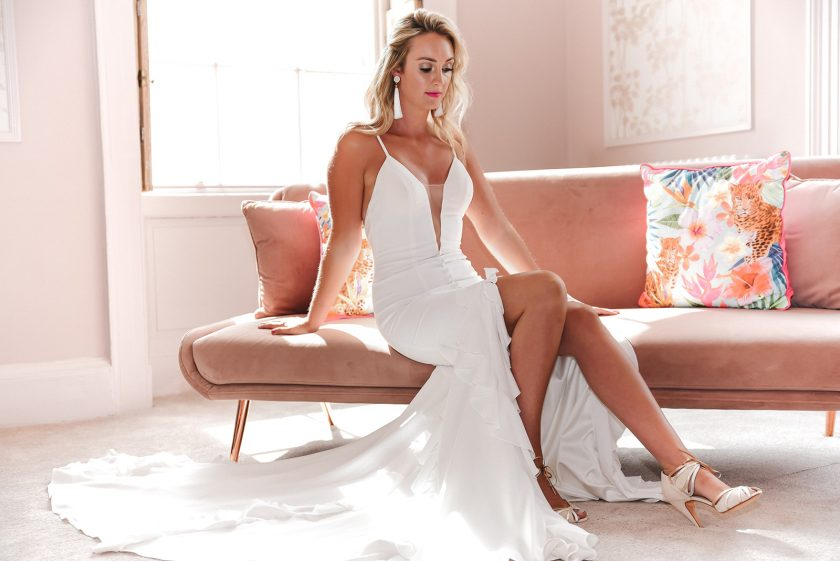 Abbey wearing wore the Francesca gown from Noya by Riki Dalal, loaned by The Little Pearl Bridal Boutique. Image by Little's and Loves Photography