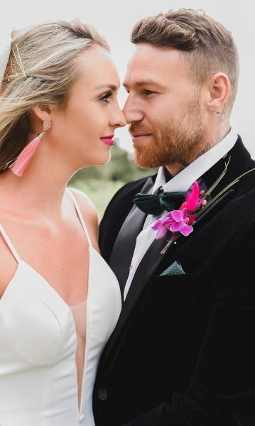 Abbey and Jamie at Langton Hall. Image by Little's and Loves Photography