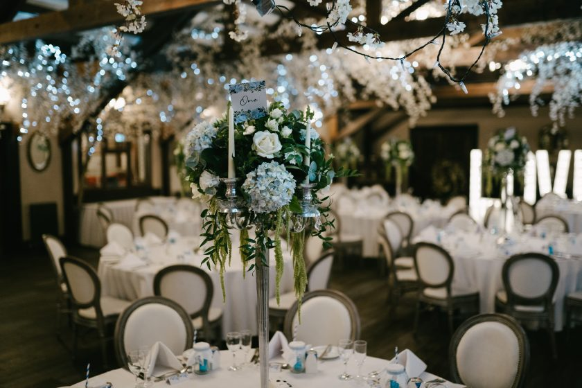 Blue Floral Centre Pieces at The Barn at The South Causey Inn. Image by Dan McCourt