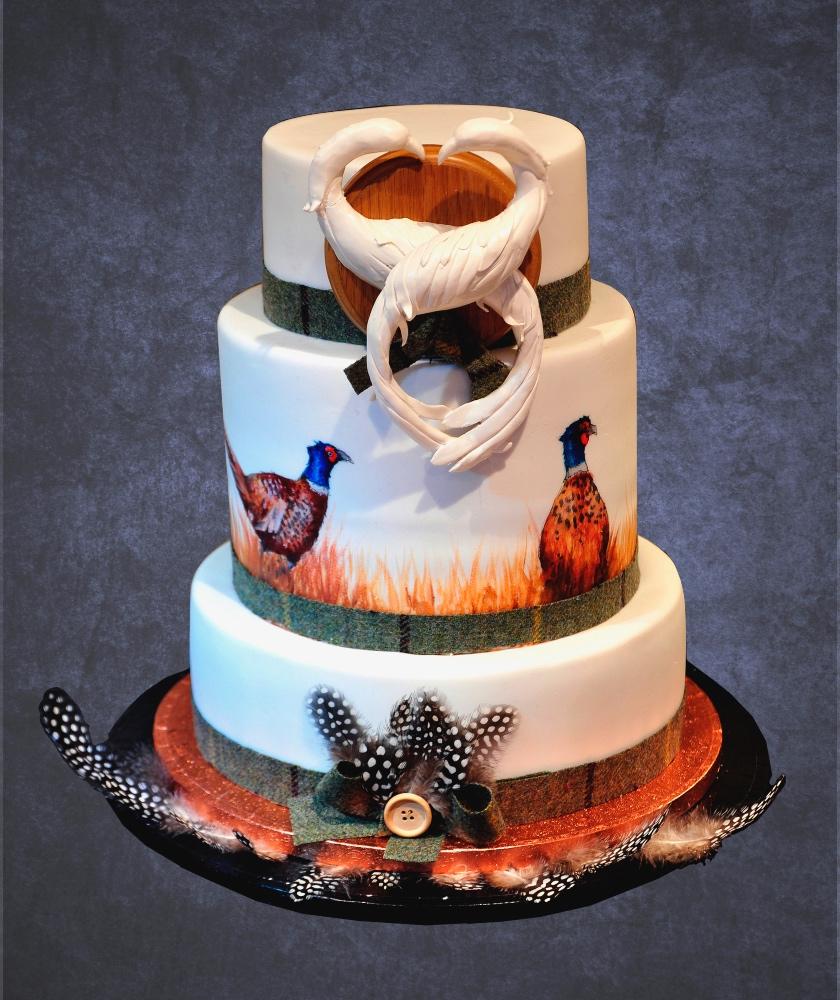 Pheasant wedding cake 2