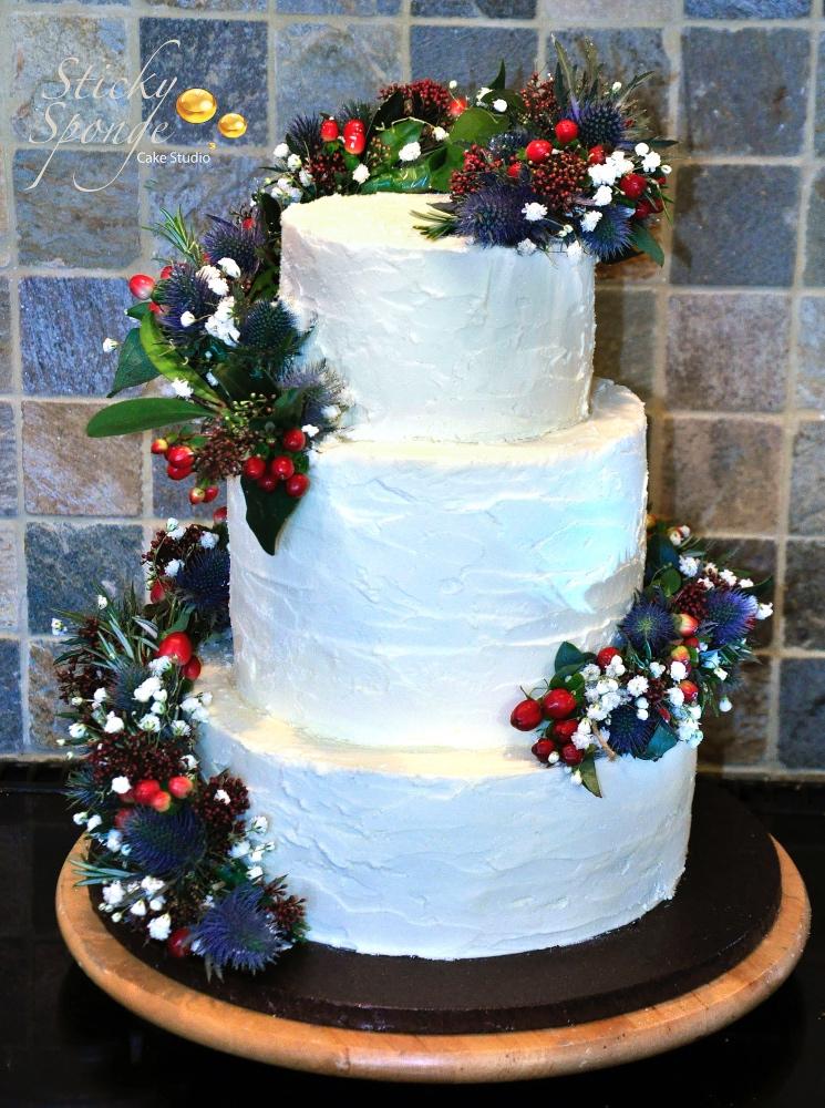 Winter buttercream wedding cake-2