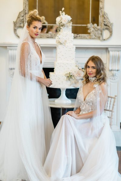 Thicket Priory, Gowns from Chloe Jane Bridalwear, Image by Emily Hannah Photography