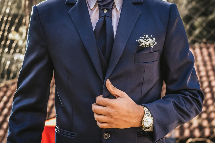 Blue Suit Jacket Up Close