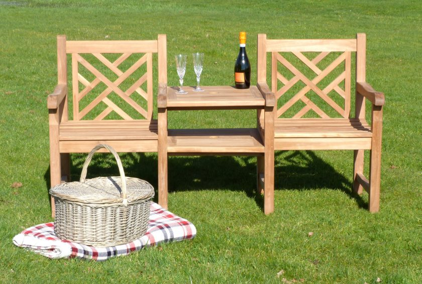 oxford teak couples bench