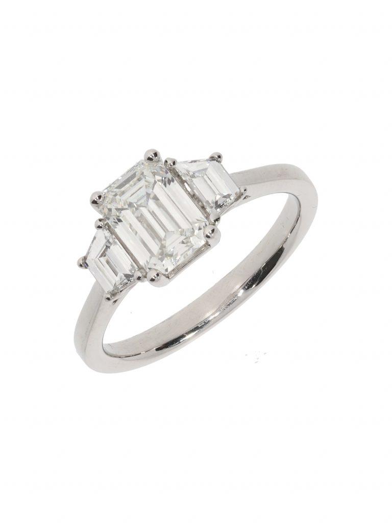 Platinum Emerald Cut Diamond Three Stone Ring, Kendalls Jewellers, £15,550