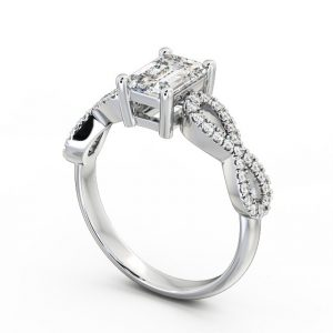 EMERALD DIAMOND ENGAGEMENT RING 18K WHITE GOLD SOLITAIRE WITH SIDE STONES - EVIE, Angelic Diamonds, 1,349.55