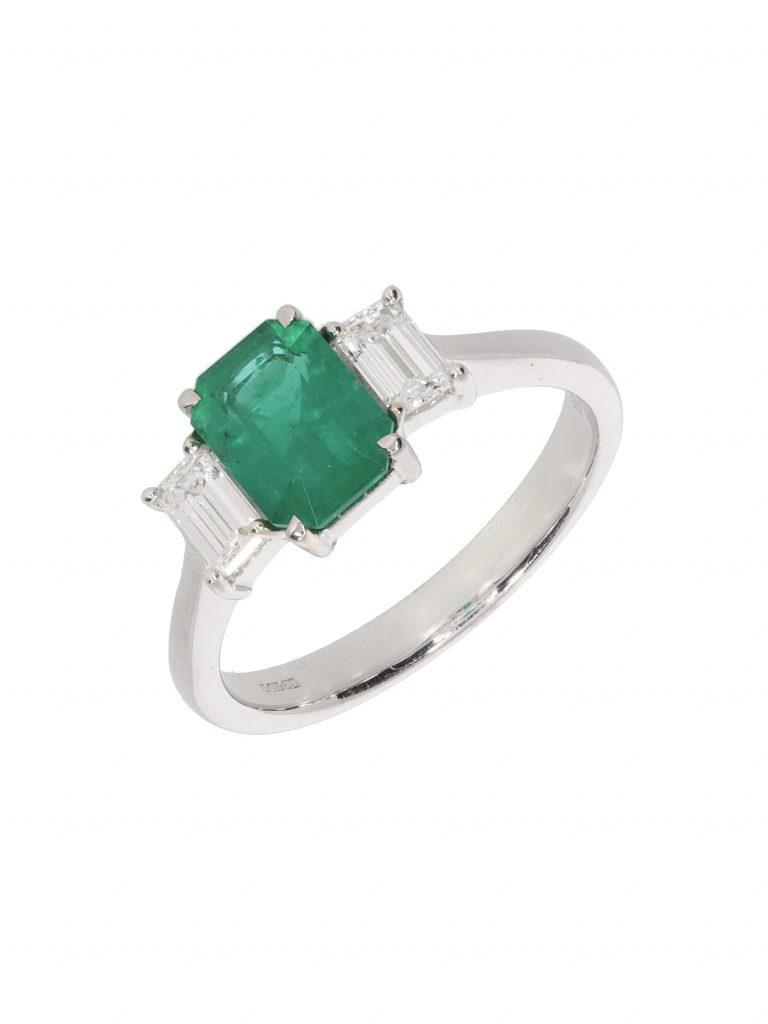 18ct White Gold Emerald and Diamond Three Stone Ring