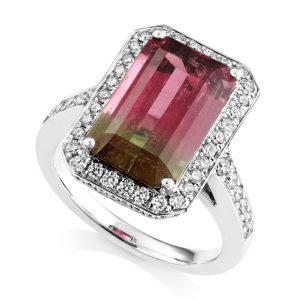 Watermelon Tourmaline & Diamond Dress Ring, Riverstones Jewellers, £6,995
