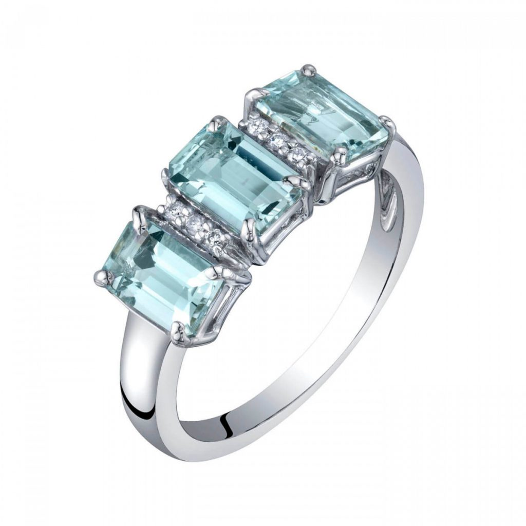 EMERALD CUT AQUAMARINE & DIAMOND THREE STONE RING IN 9CT WHITE GOLD, Ruby & Oscar, £1,350