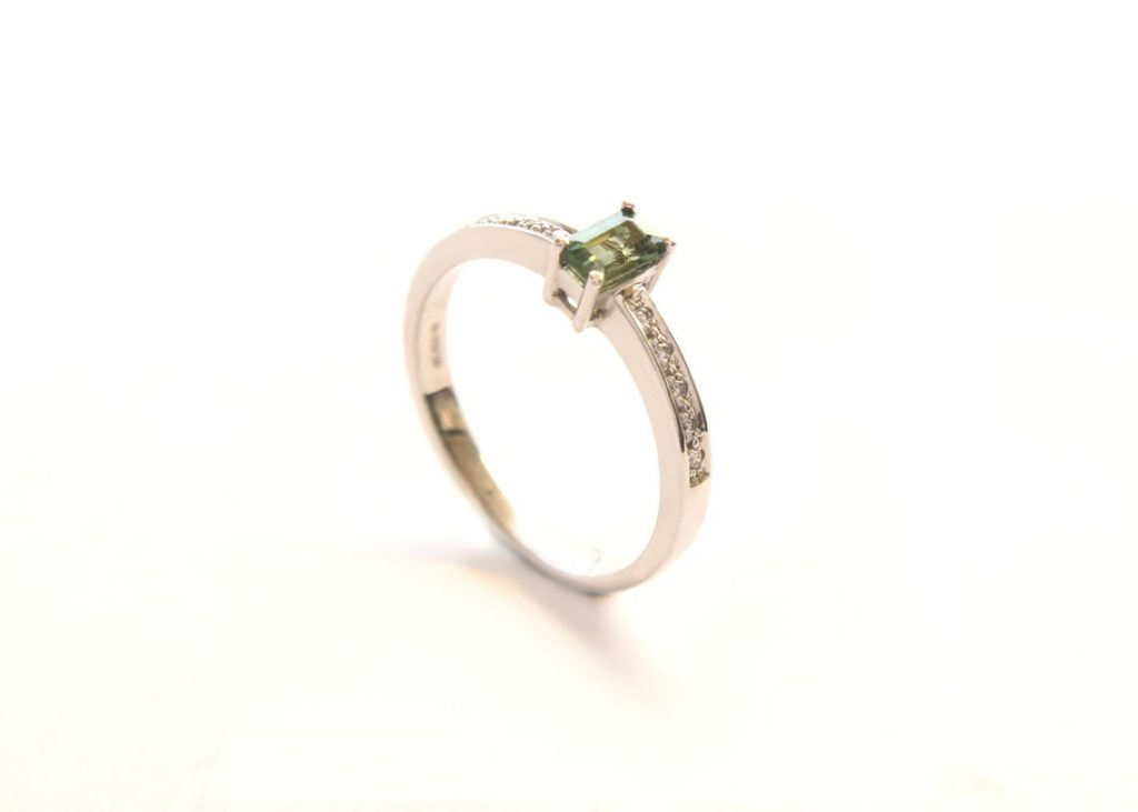 Green Sapphire and Diamond 18ct white gold Engagement Ring, Dytham Jewellery, £550