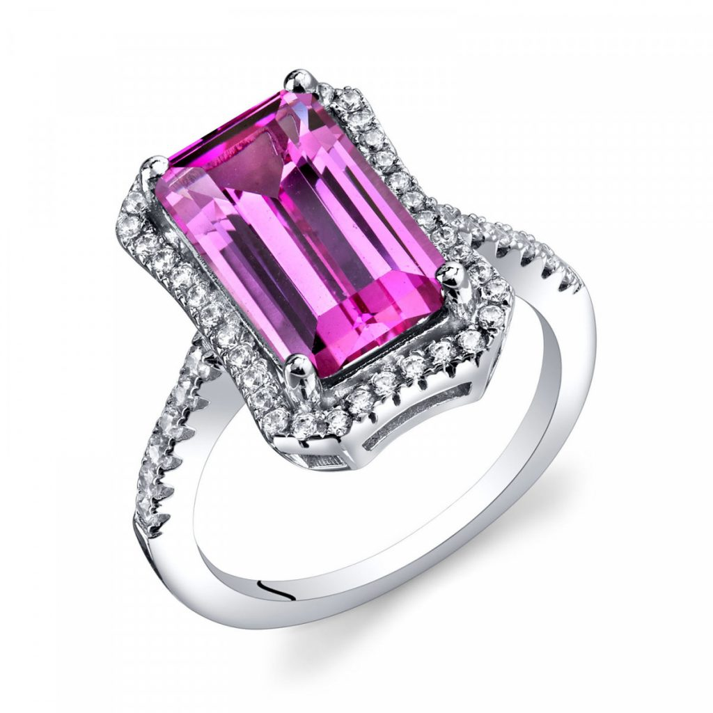PINK SAPPHIRE & CZ OCTAGON RING IN STERLING SILVER, Ruby & Oscar, £175